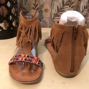 Brown Suede Fringe Thong Sandals Size 8